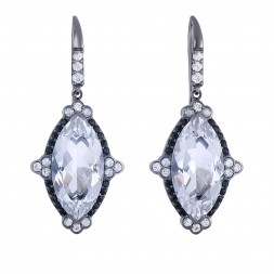 Silver Gem Candy Marquis Drop Earrings With Rock Crystal Quartz, Black And White Sapphire