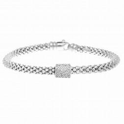 Silver  Popcorn Bracelet With Diamond Station Barrel