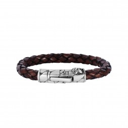Silver With Rhodium Finish 8Mm Textured Woven Brown Woven Leather Bracelet With Large  Fleur De Lis Clasp