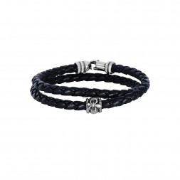 Silver Wrap Around Woven Black Leather Bracelet
