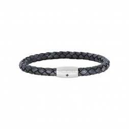 Silver With Rhodium Finish Woven Gray Leather Bracelet With Small Magnetic Clasp And  Blue Sapphire