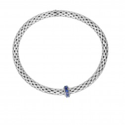 Silver  Stretchable Popcorn  Bracelet With  Round Iolite