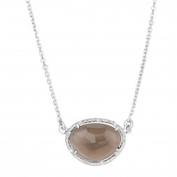 Silver Oval Diamonds Sideways Pendant With Large Smokey Quartz On 17 In Chain