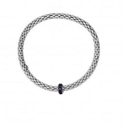 Silver  Stretchable Popcorn  Bracelet With  Round Amethyst