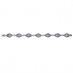 Silver Gem Candy Marquis Bracelet  With Rock Crystal Quartz,Black And White Sapphire