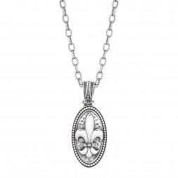 Silver Oval Fleur De Lis Pendant With Diamond