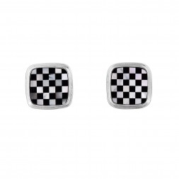 Silver Square Cufflinks With White Mother Of Pearl And Onyx