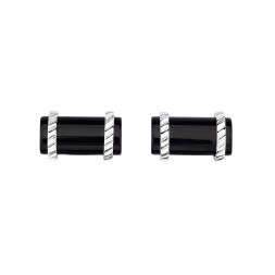Silver Rectangular Cufflinks With Black Onyx