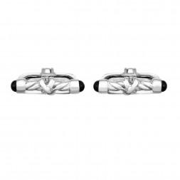 Silver Barrel Cufflinks With Black Agate