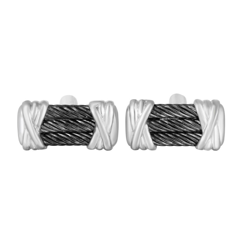 Sterling Silver Triple Black Rhodium Bar Cufflinks