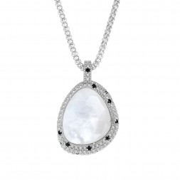Silver Large Popcorn Teardrop Pendant With Mother Of Pearl And Black Spinel On 18In Chain