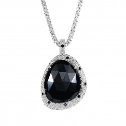 Silver Large Popcorn Teardrop Pendant With Black Onyx And Black Spinel On 18In Chain