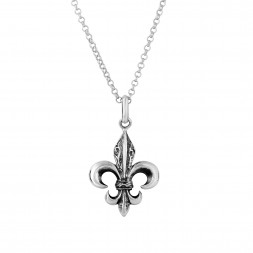 Silver Carved Fleur De Lis Pendant On 18In Chain