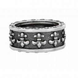Silver Black Rhodium Textured  Fleur De Lis Ring