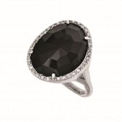 Silver Gem Candy  Black Onyx Ring With Diamond