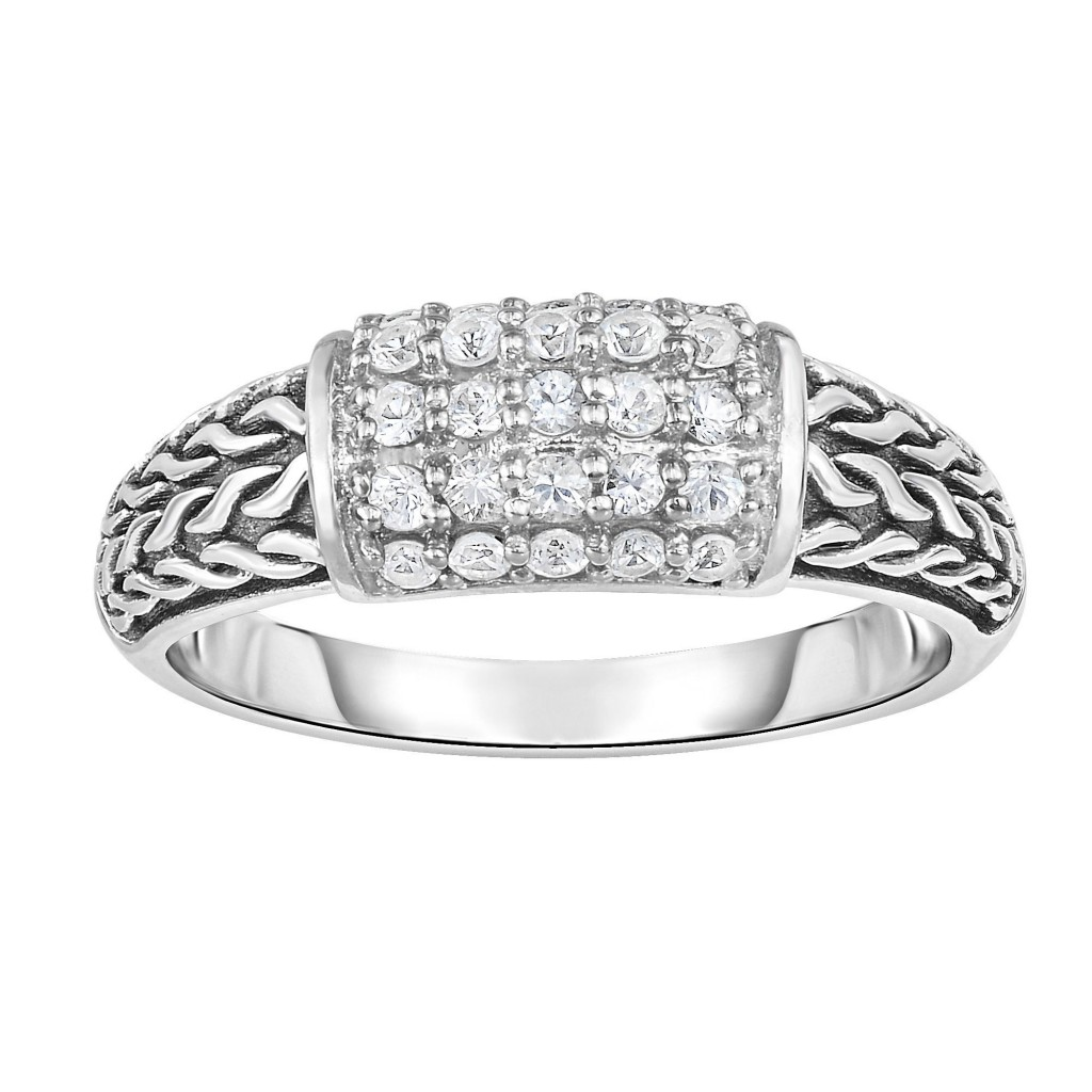 Silver Graduated Graduated Woven Ring With White Sapphire