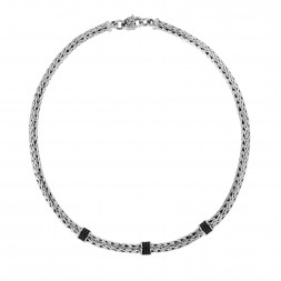 Silver Woven 17In Necklace With Three Stations Of Black Sapphires