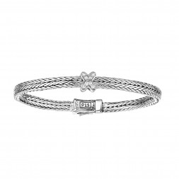 Silver Woven Childrens Size Inxin Bracelet With Box Clasp And White Sapphires