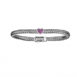 Silver Woven Childrens Size Inheartin Bracelet With Box Clasp And Pink Sapphires
