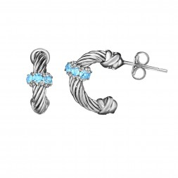 Silver Italian Cable Small Hoop Earrings With Blue Topaz