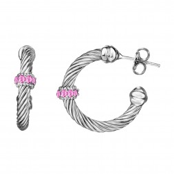 Silver Italian Cable Large Hoop Earrings With Pink Topaz