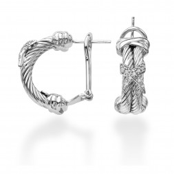 Sterling Silver Italian Cable Double Row Earrings With .10Ct Diamond X