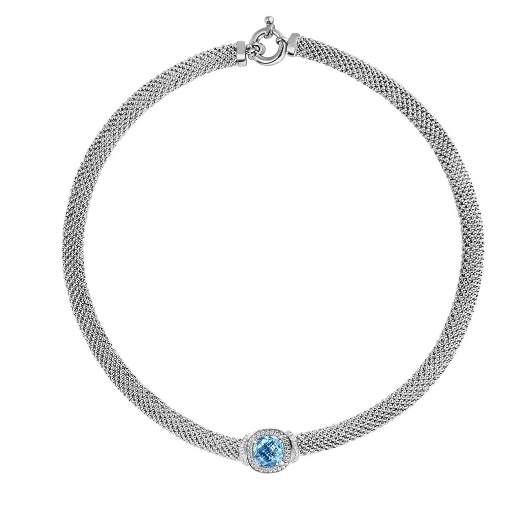 Silver Popcorn 17In Necklace With Diamonds And Cushion Cut Blue Topaz