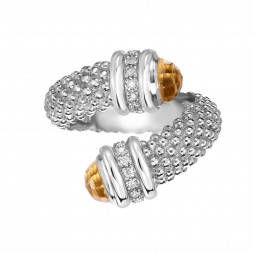 Silver Popcorn Bypass Ring With Diamonds And Citrine