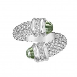 Silver Popcorn Bypass Ring With Diamonds And Green Amethyst