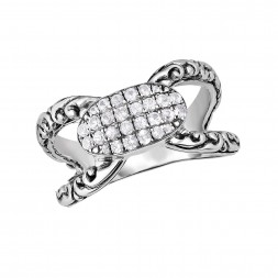 Silver Byzantine Oval  Ring With White Sapphires