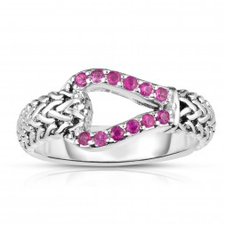 Woven Silver Hook Ring With Pink Sapphires.