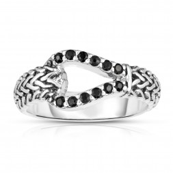 Woven Silver Hook Ring With Black Sapphires.