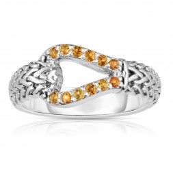 Woven Silver Hook Ring With Yellow Sapphires.