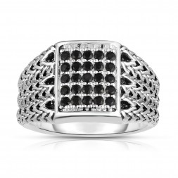 Woven Silver Men'S Signet Ring With Black Sapphires.