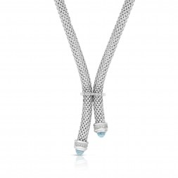 Sterling Silver Popcorn Y-Necklace With .10Ct Diamonds And Blue Topaz