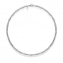 Sterling Silver Italian Cable Men'S Vintage Razior Link Necklace