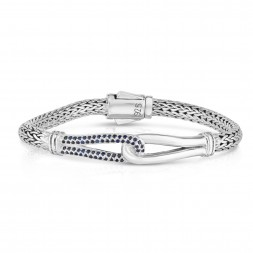 Woven Silver Large Interlocking Link Bracelet With Blue Sapphires