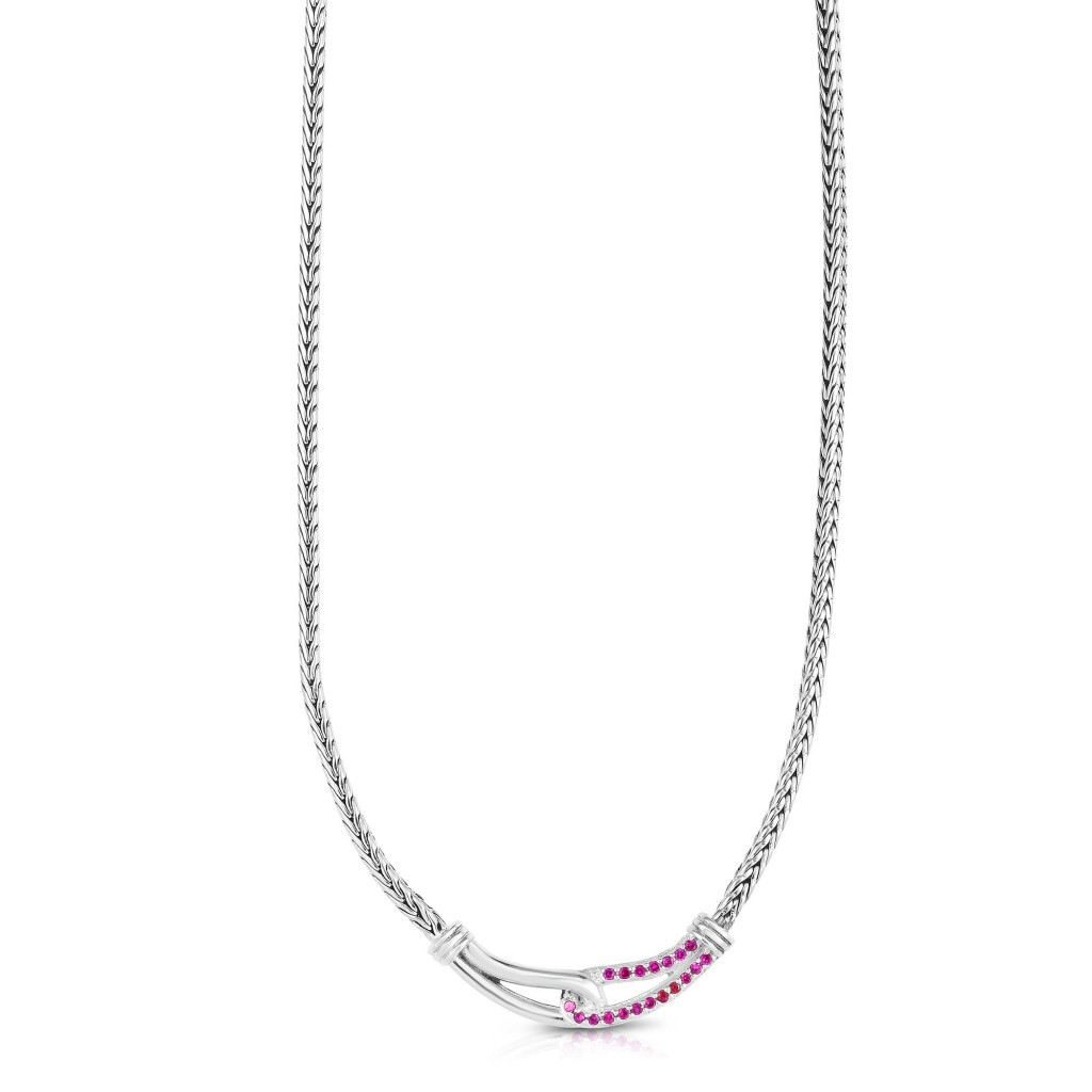 Woven Silver Medium Interlocking Link Necklace With Pink Sapphires