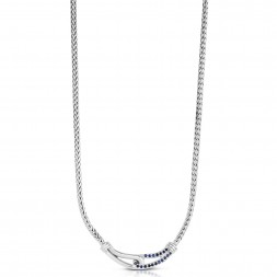Woven Silver Medium Interlocking Link Necklace With Blue Sapphires