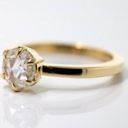 1 Carat Rose Cut Moissanite Engagement Ring