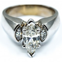 Marquise Diamond Solitaire with Marquise Accents (1.50ctw)