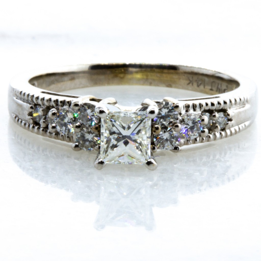 Milgrain Princess Cut Diamond RIng (.58ctw.)
