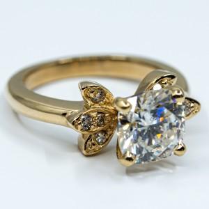 Floral Design Cushion Cut Diamond Ring