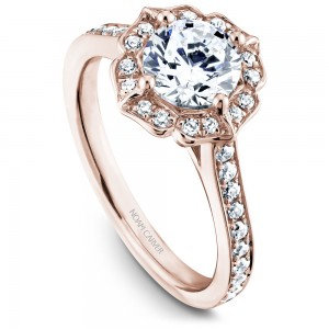 Noam Carver Rose Gold Engagement Ring With Floral Halo And 36 Diamonds