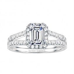 Emerald Cut Split Shank Halo Diamond Semi Mount Engagement Ring