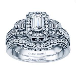 Rm1256e-14k White Gold Halo Engagement Ring