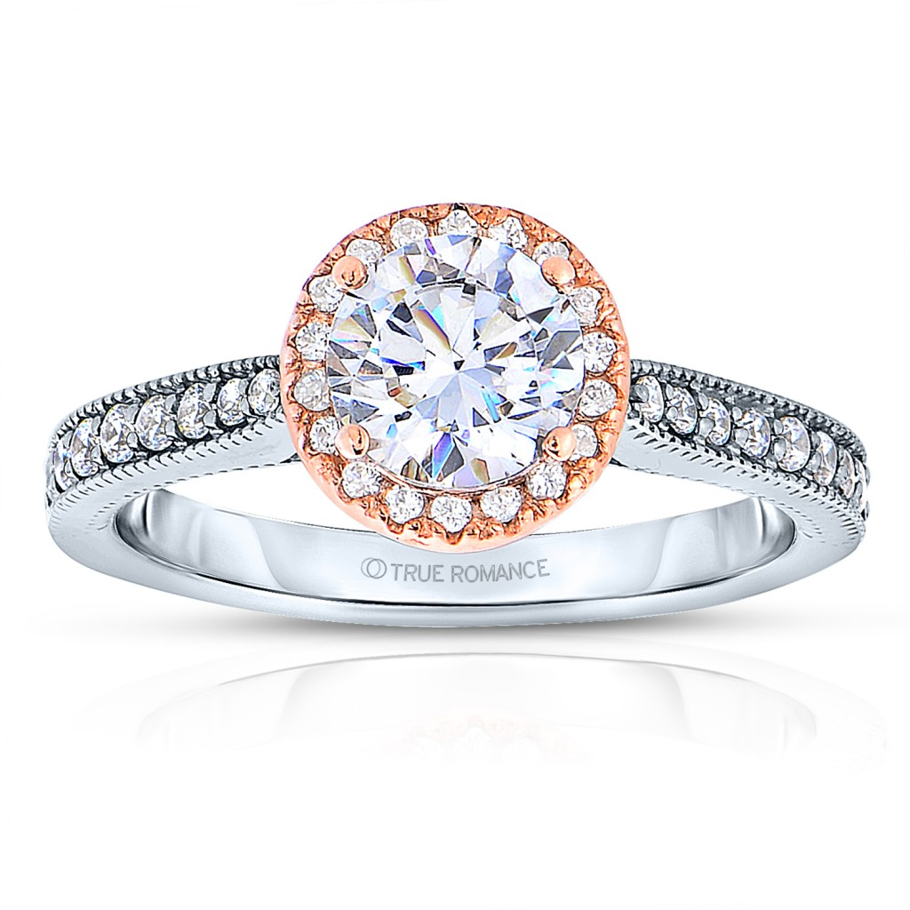 Rm1286rtt-14k White Gold Round Cut Halo Diamond Engagement Ring