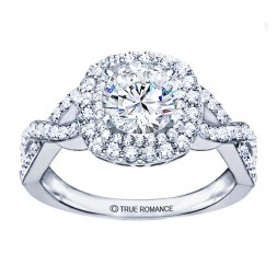 RM1354K Round Diamond Infinity/Halo Semi Mount Engagement Ring