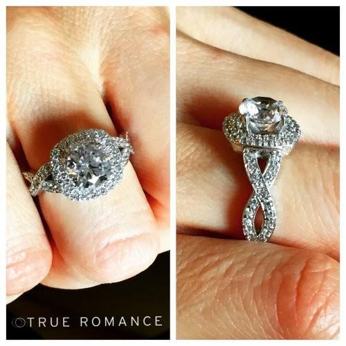 RM1354K1 - Round Cut Double Halo Diamond Infinity Semi Mount Engagement Ring
