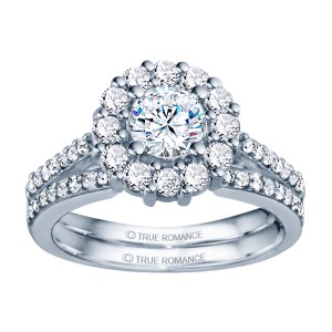 Rm1381-14k White Gold Round Cut Halo Diamond Engagement Ring